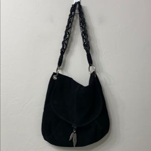 Lucky Brand black suede leather shoulder bag